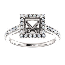 Load image into Gallery viewer, Platinum 5.5x5.5 mm Square 1/4 CTW Diamond Semi-Set French-Set Engagement Ring* Quote does not include cost of center stone. *Prices are based on a standard melee diamond quality SI2-SI3, G-H. Exact pricing may be subject to change based on size, ple