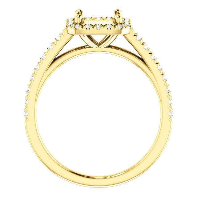 14K Yellow 6x6 mm Asscher 1/4 CTW Diamond Semi-Set French-Set Engagement Ring* Quote does not include cost of center stone. *Prices are based on a standard melee diamond quality SI2-SI3, G-H. Exact pricing may be subject to change based on size, plea