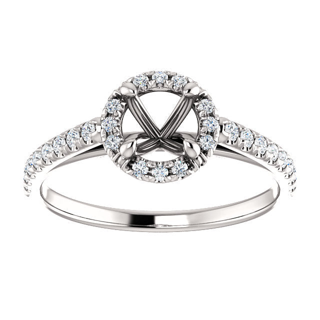 Platinum 5.2 mm Round 1/3 CTW Diamond Semi-Set French-Set Engagement Ring * Quote does not include cost of center stone. *Prices are based on a standard melee diamond quality SI2-SI3, G-H. Exact pricing may be subject to change based on size, please