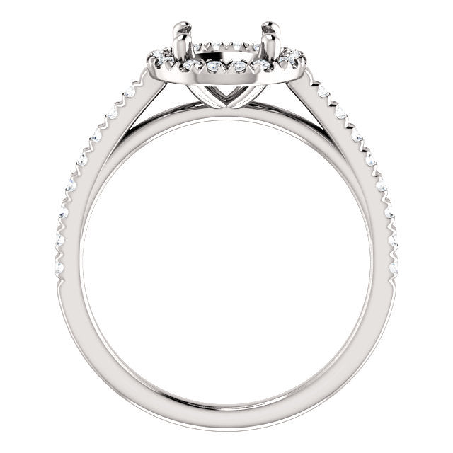 Platinum 7 mm Round 1/4 CTW Diamond Semi-Set French-Set Engagement Ring * Quote does not include cost of center stone. *Prices are based on a standard melee diamond quality SI2-SI3, G-H. Exact pricing may be subject to change based on size, please co
