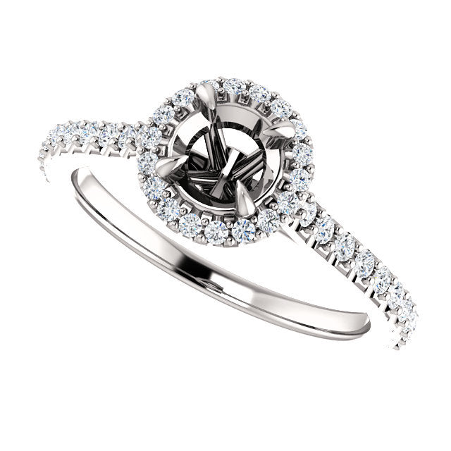 14K White 5.2 mm Round 1/3 CTW Diamond Semi-Set Engagement Ring* Quote does not include cost of center stone. *Prices are based on a standard melee diamond quality SI2-SI3, G-H. Exact pricing may be subject to change based on size, please contact an