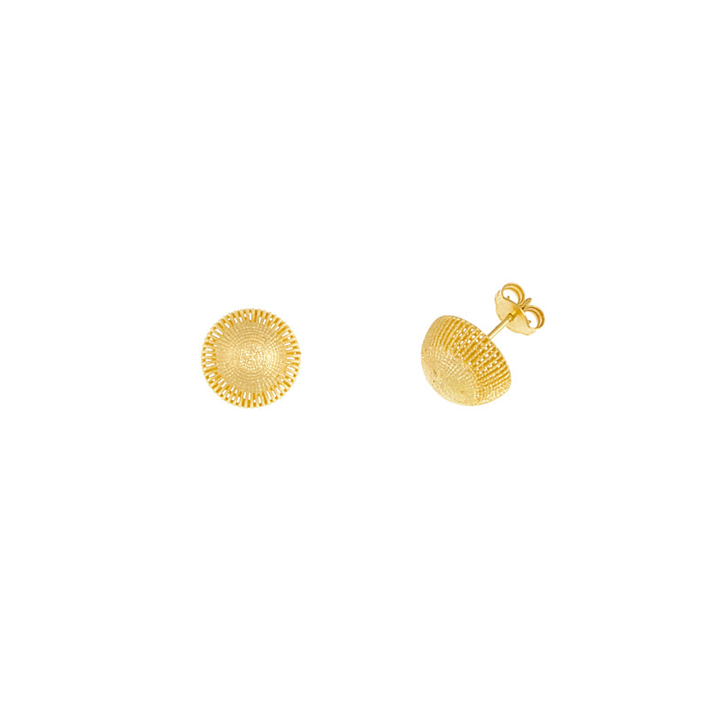 14KT Yellow Earrings Half Dome12mm