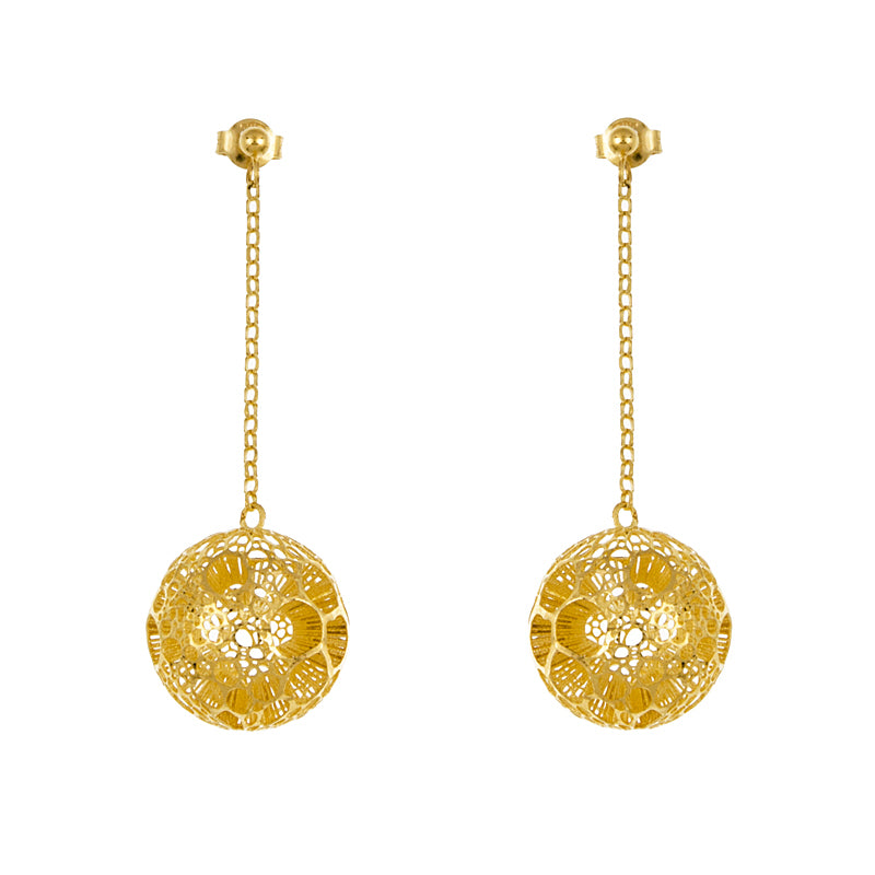 14KT Yellow Earrings 19.5mm Ball