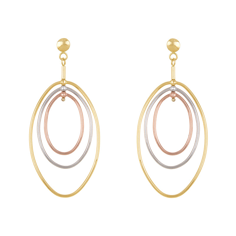 14KT Yellow/White/Pink Earrings