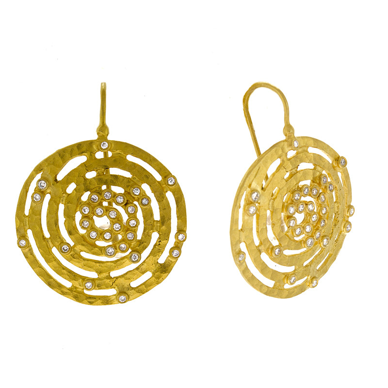 14KT Yellow Textured Flat Earring