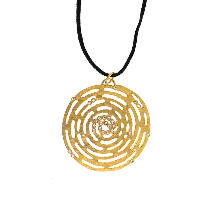 14KT Yellow Textured Round Pendant