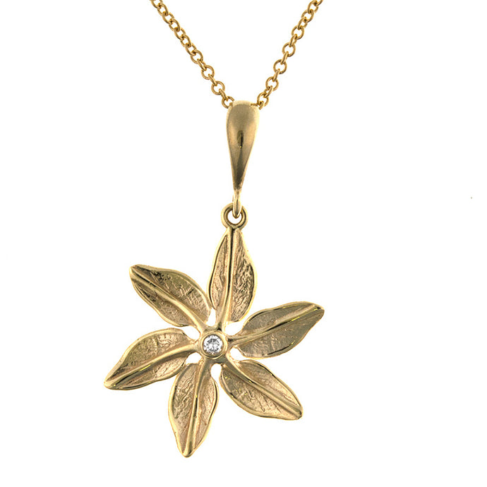14KT Yellow Pendant Leaves