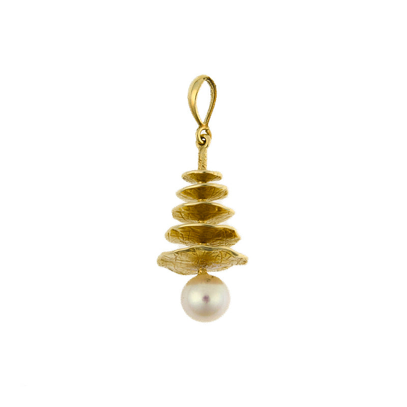 14KT Yellow Pendant With Pearl