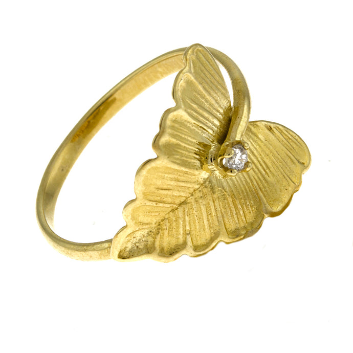 14KT Yellow Leaf Ring