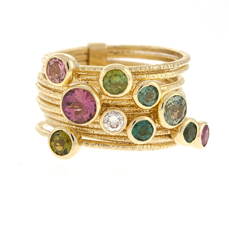 14KT Yellow 10 Rings Multi-Color