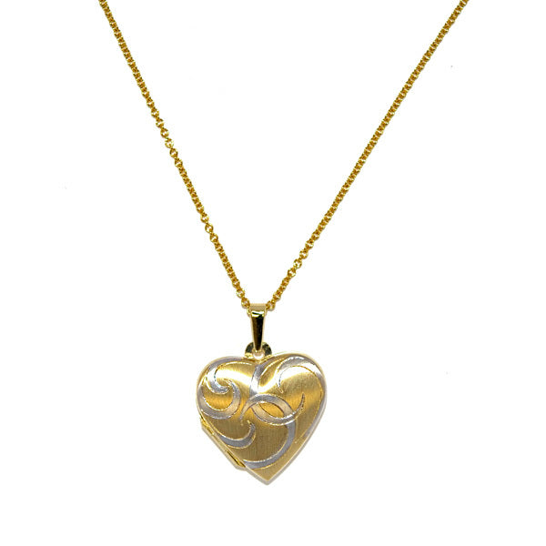 18KT White & Yellow Heart Locket