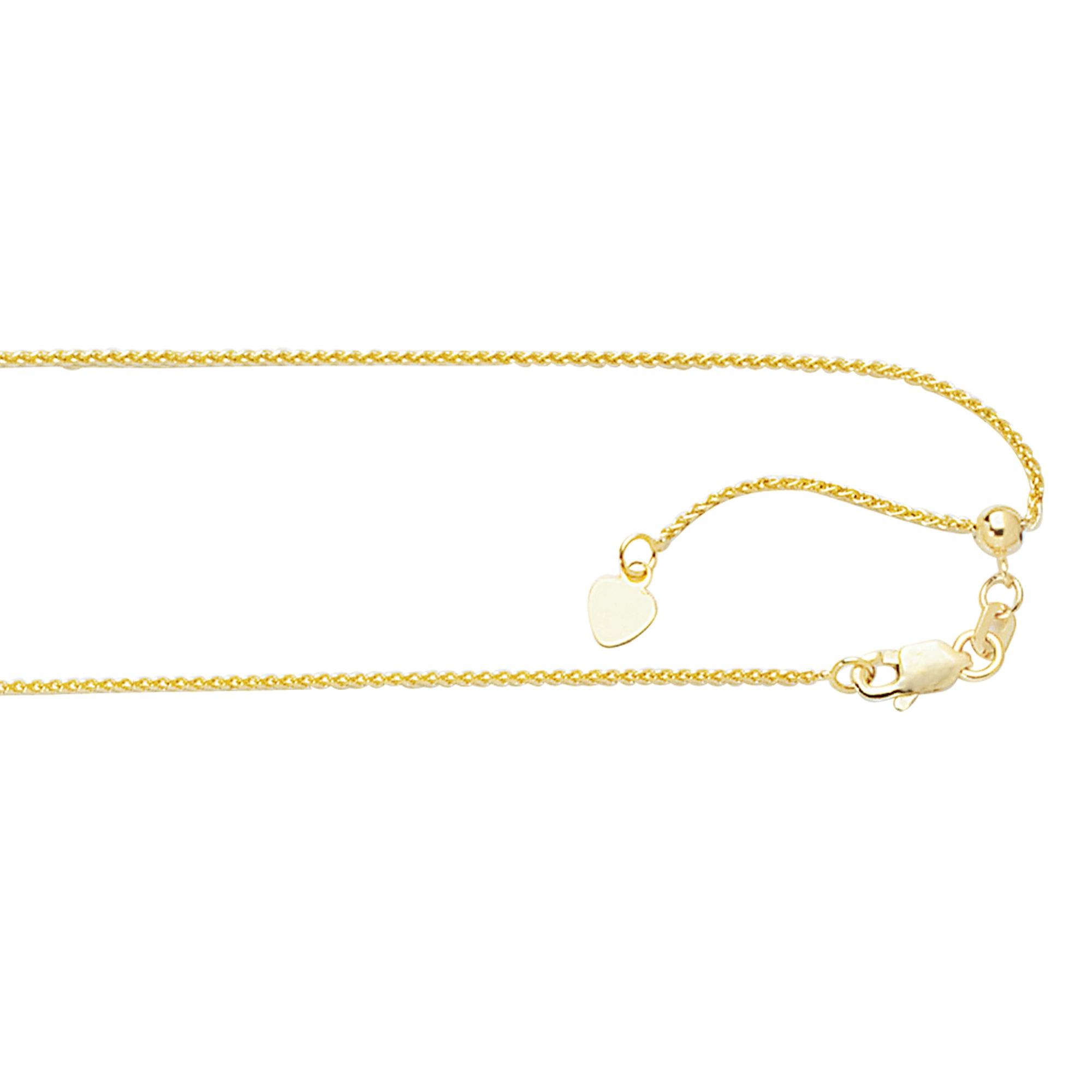 10K Gold 1.0mm Adjustable Wheat Chain