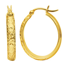 Load image into Gallery viewer, 10K Gold Oval Diamond Cut Hoop Earring