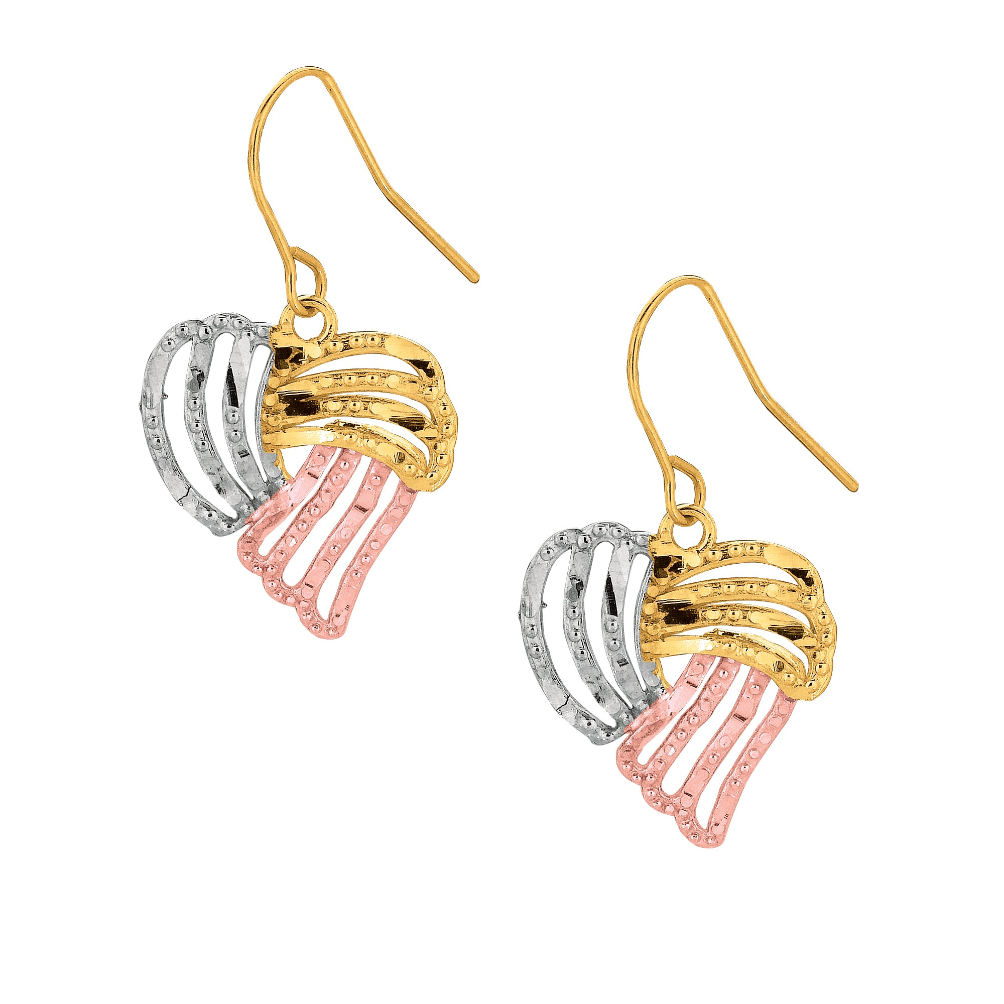 10K Gold Heart Dangle Earring