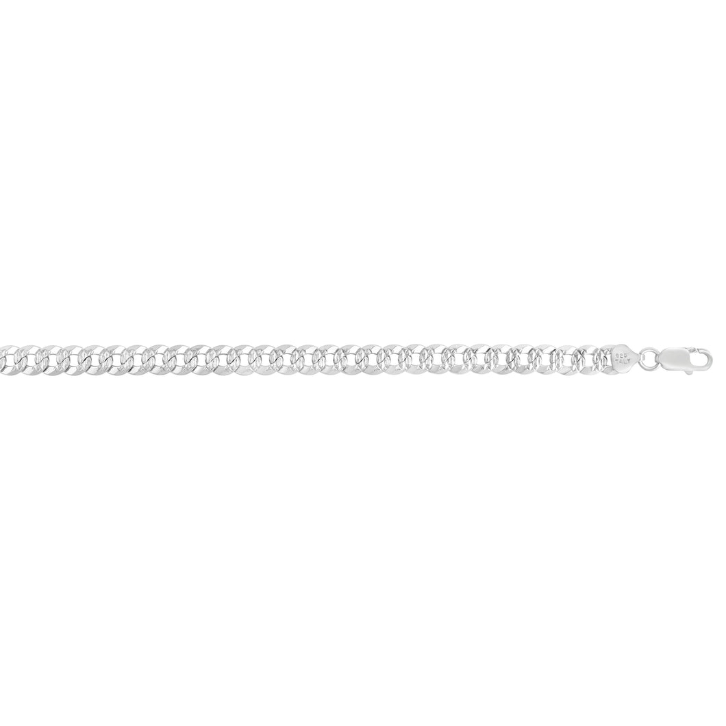 Silver 7.3mm White Pave Curb Chain