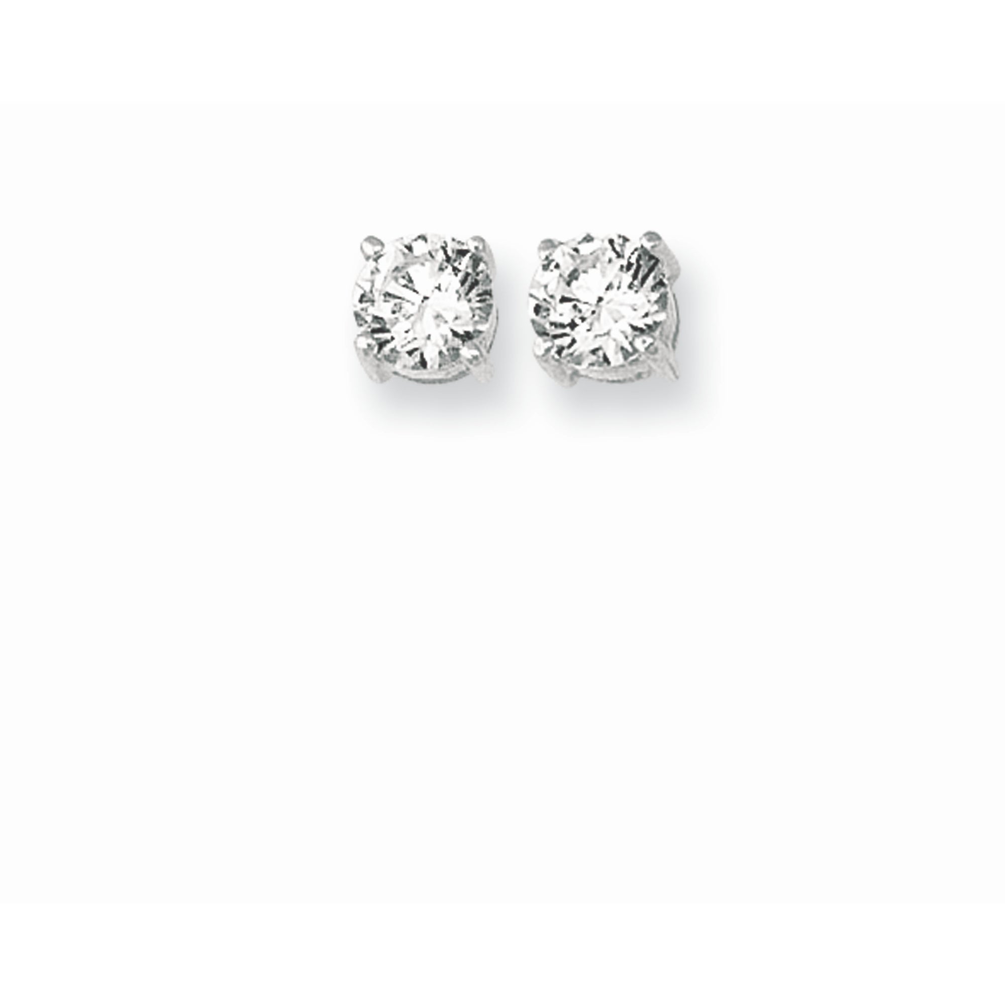 Silver 5MM Round CZ Earring