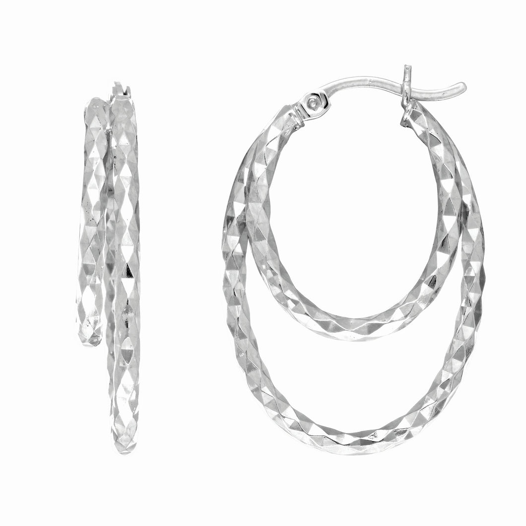 Silver Double Diamond Cut Hoop Earring