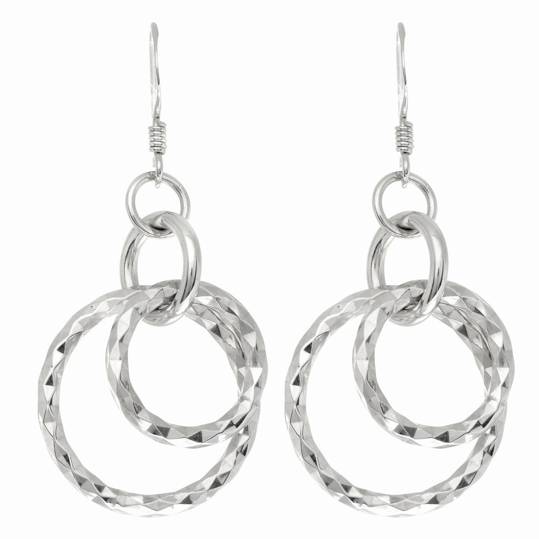Silver Double Dangle Oval Earring