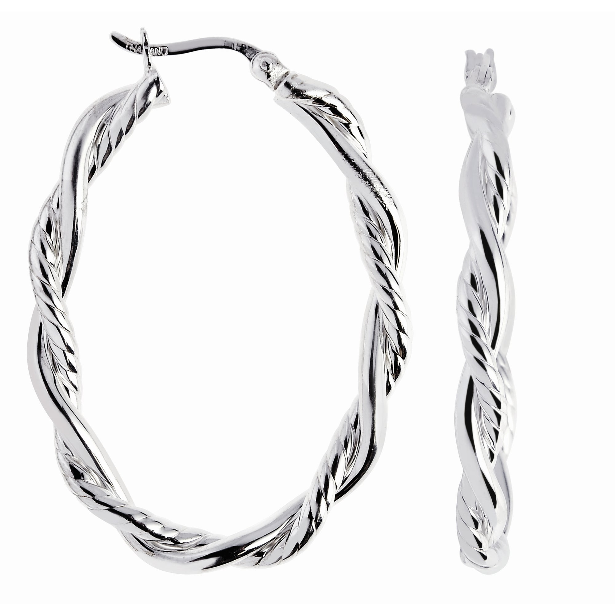 Silver Diamond Cut Twist Earring