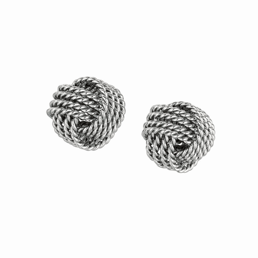 Silver Cable Love Knot Earring