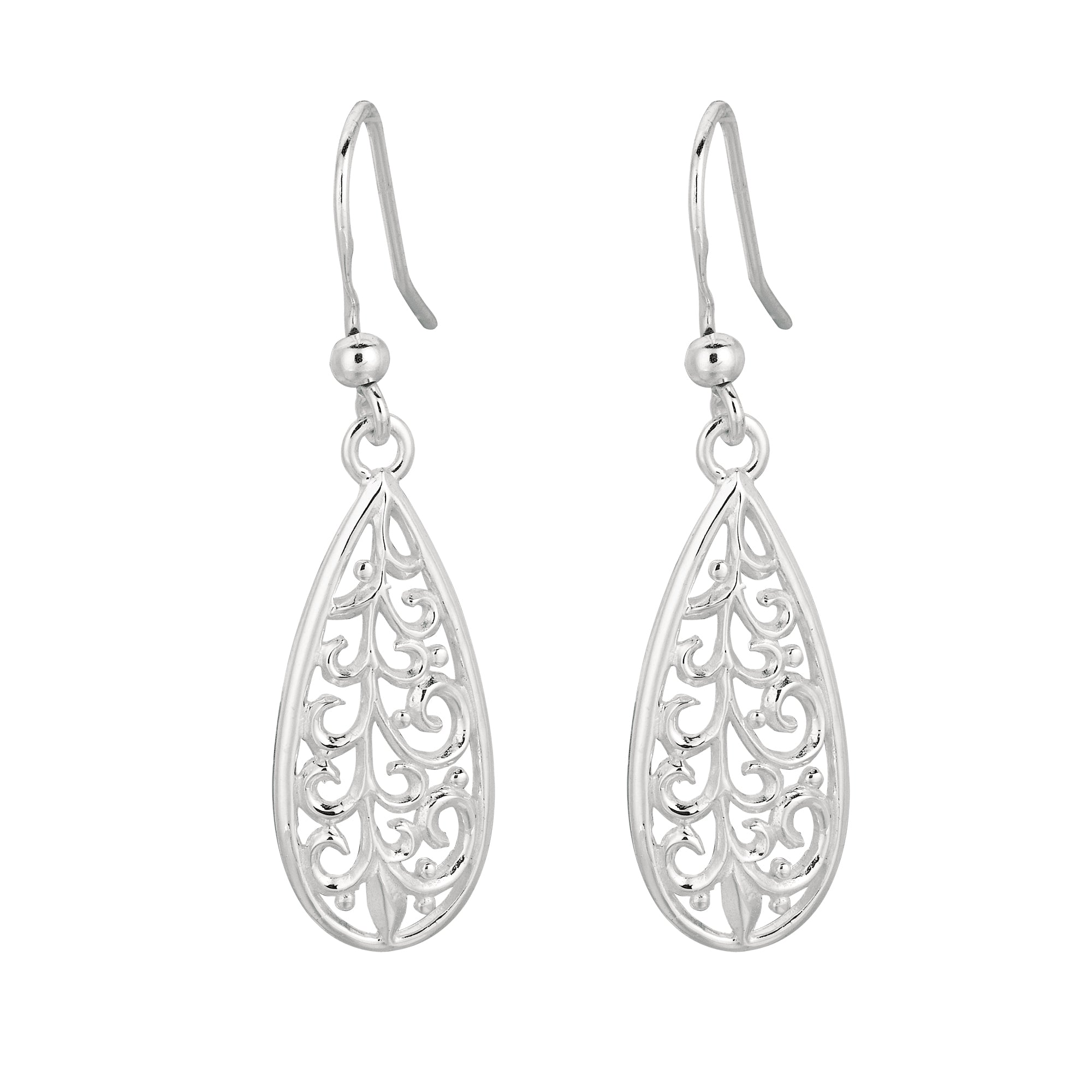 Silver Filigree Pear Drop Earring