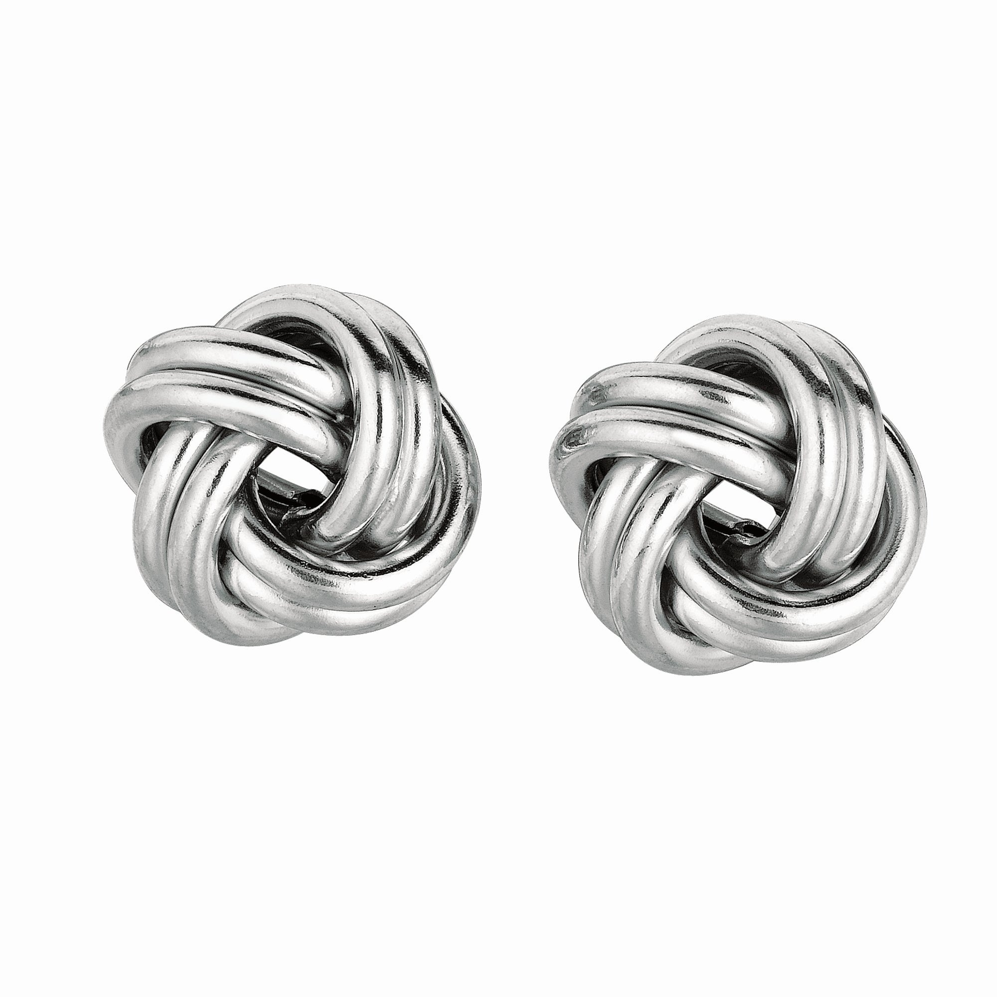 Silver Double Row Polished Love Knot Earring