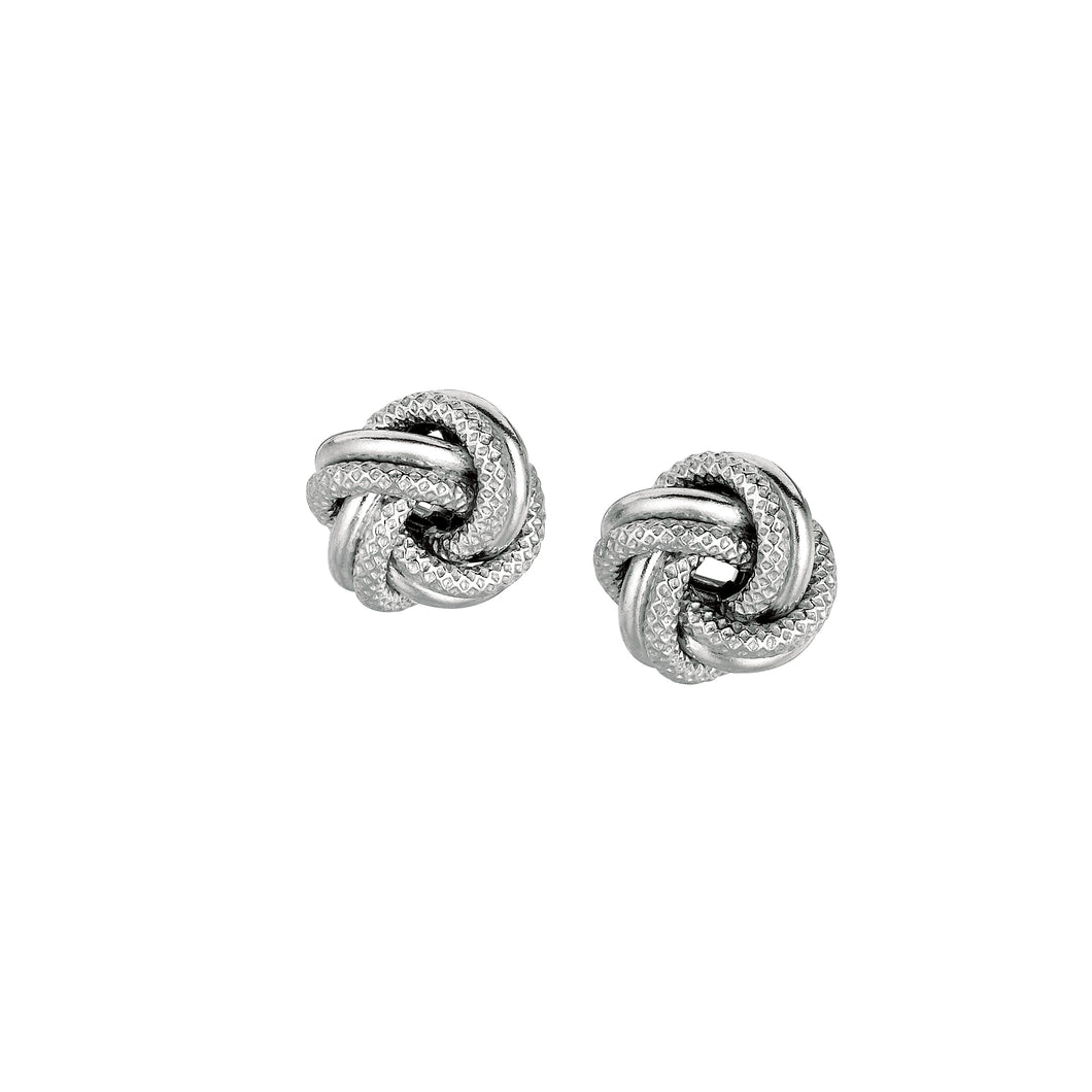 Silver Mini Textured & Polished Love Knot Earring