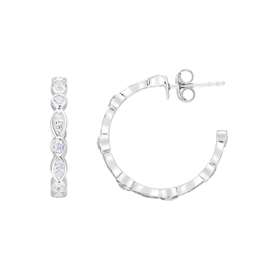 Silver 20x3mm Marquise & Round CZ C Hoops