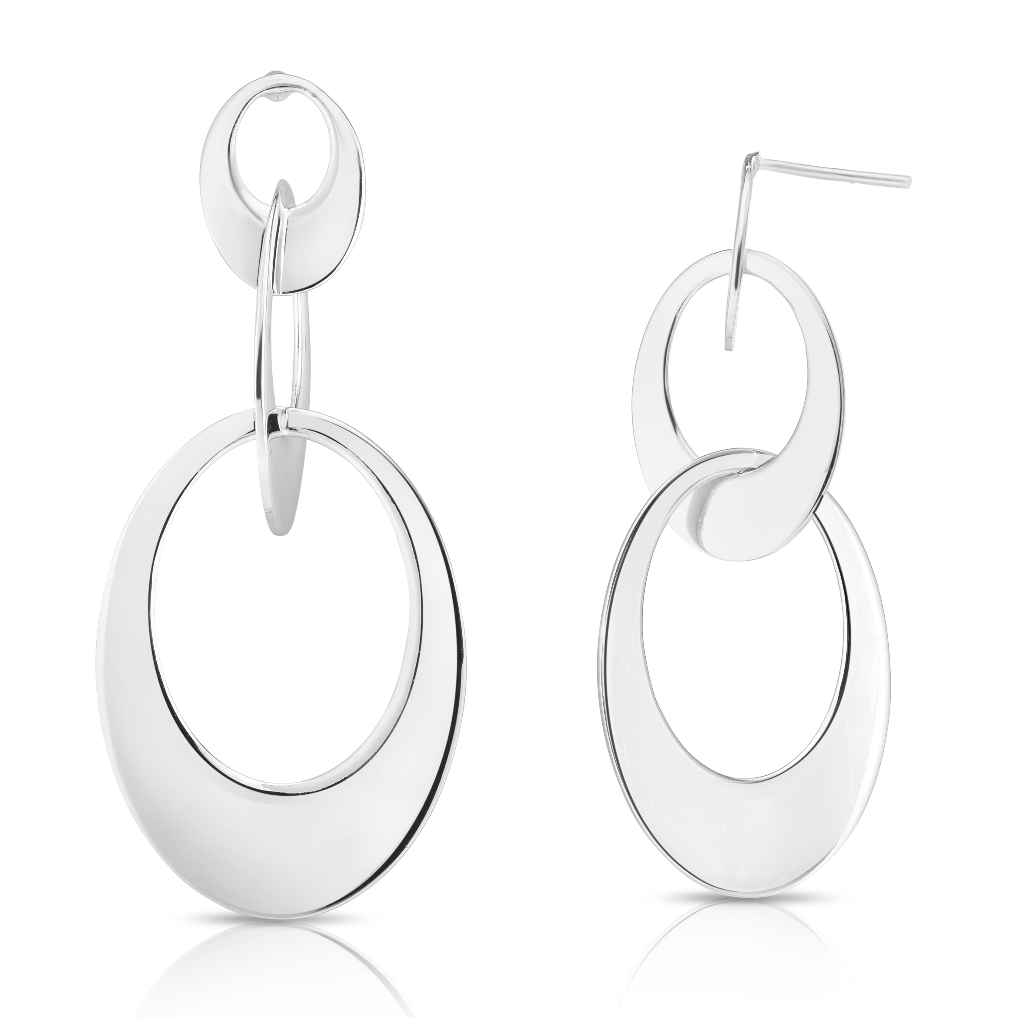 Silver Wide Linked Oval Earring