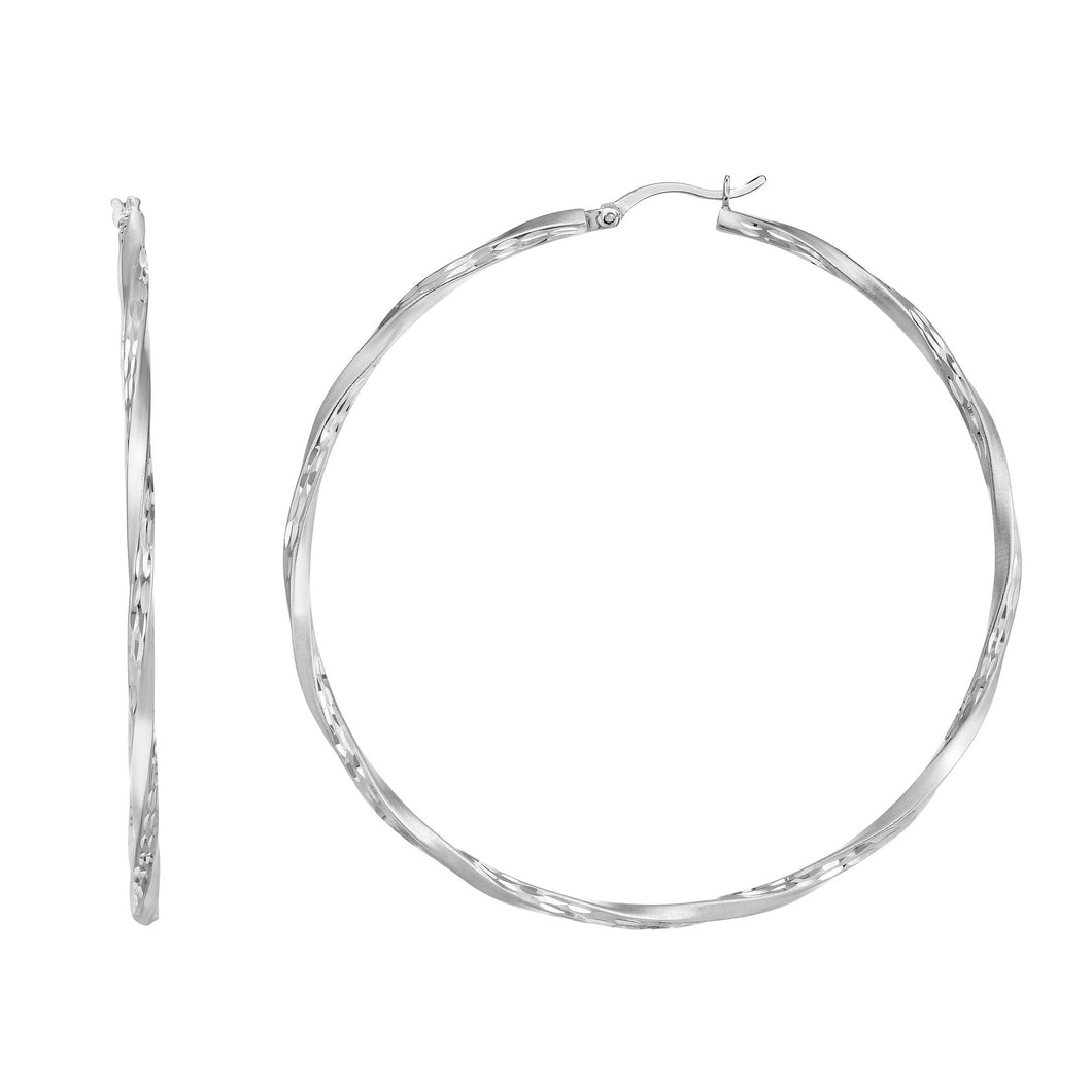 Silver 45mm Edged Diamond Cut Hoop Earring