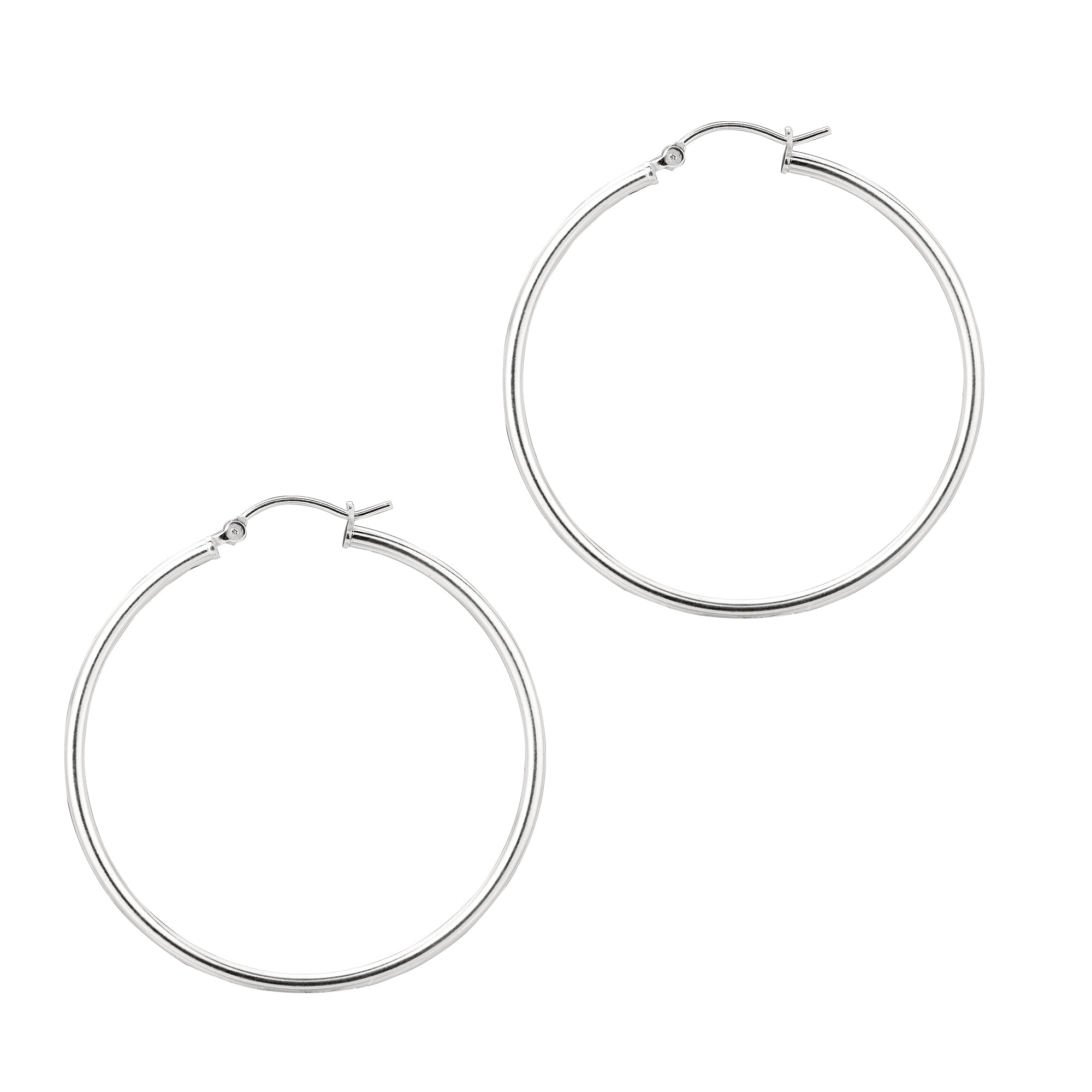 Silver 2x40mm Hoop Earring