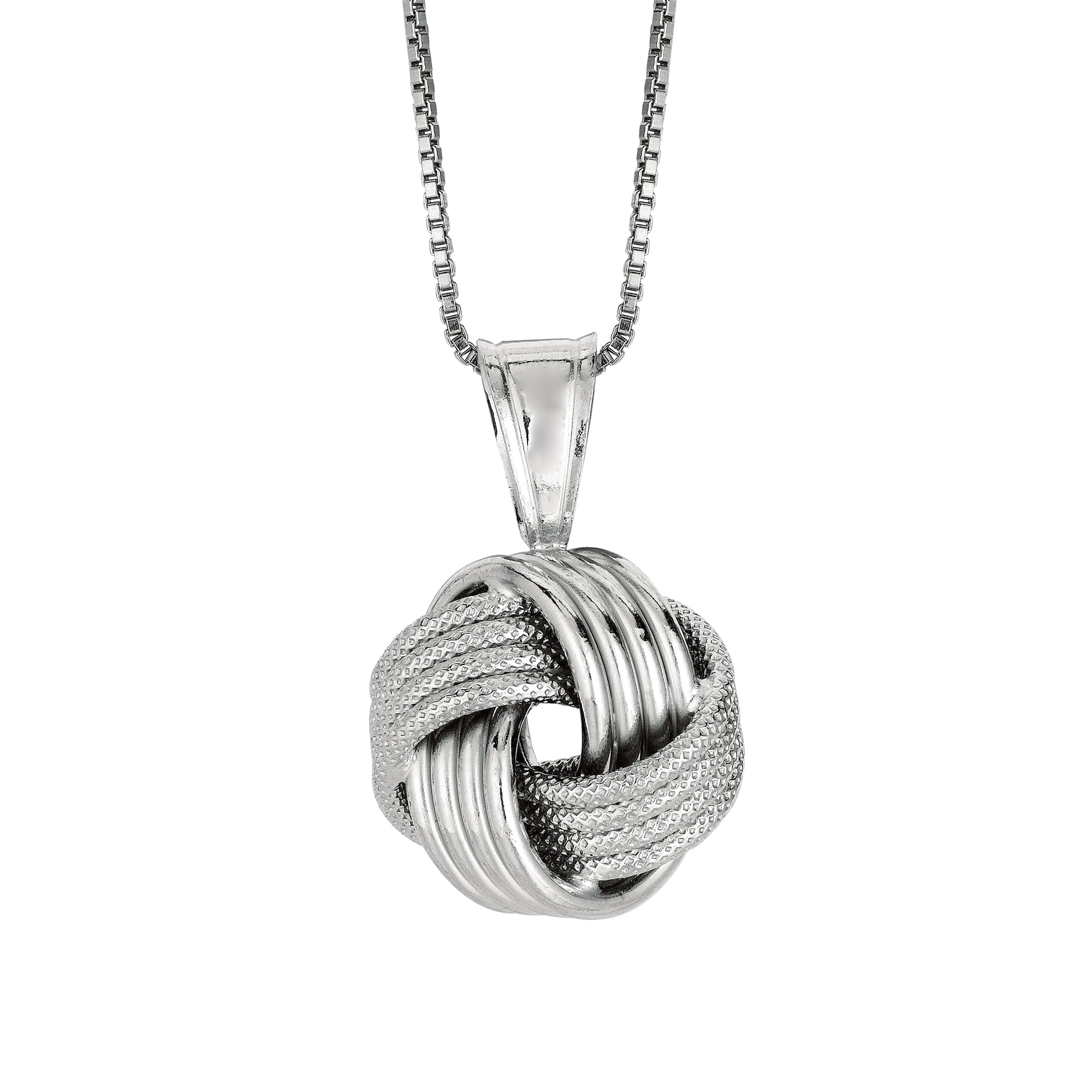 Silver Multirow Love Knot Necklace