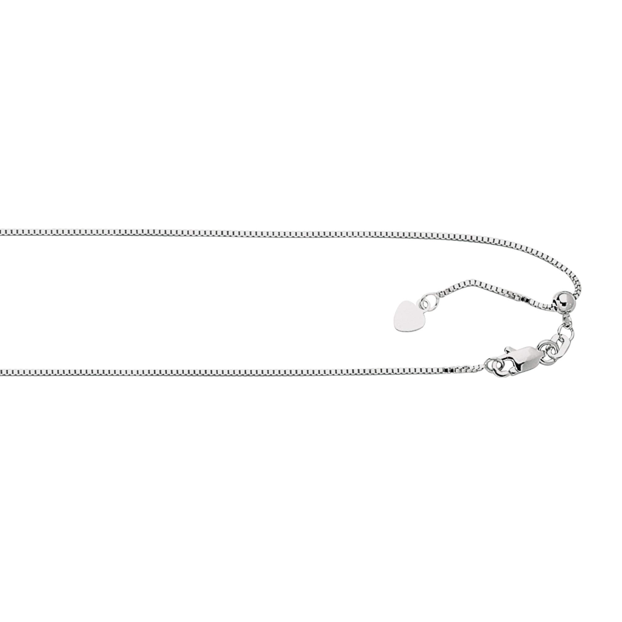 "Silver .8mm Adjustable 30"" Box Chain"