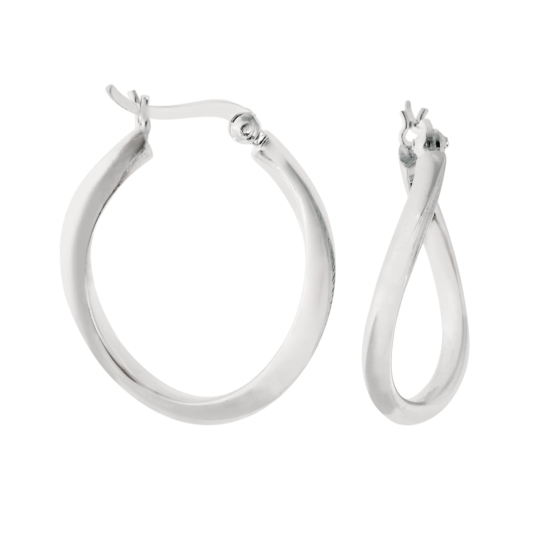 Silver Wavy Polished Hoop Earring