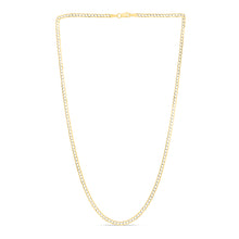 Load image into Gallery viewer, 14K Gold 2.6mm White Pave Curb Chain