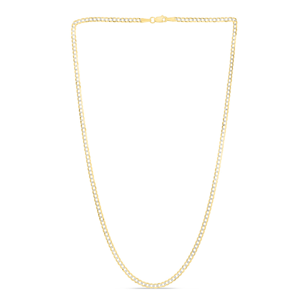 14K Gold 2.6mm White Pave Curb Chain