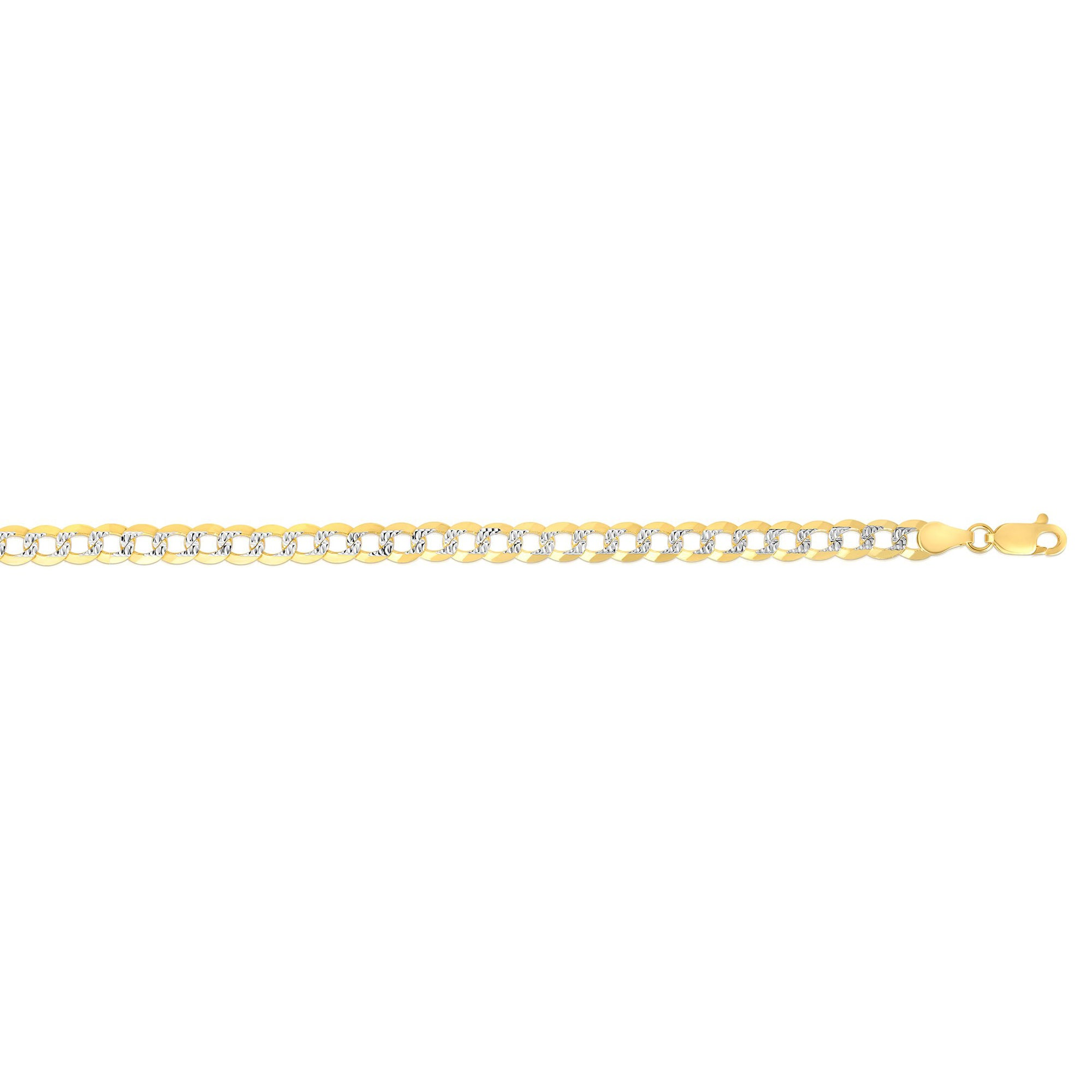 14K Gold 3.6mm White Pave Curb Chain