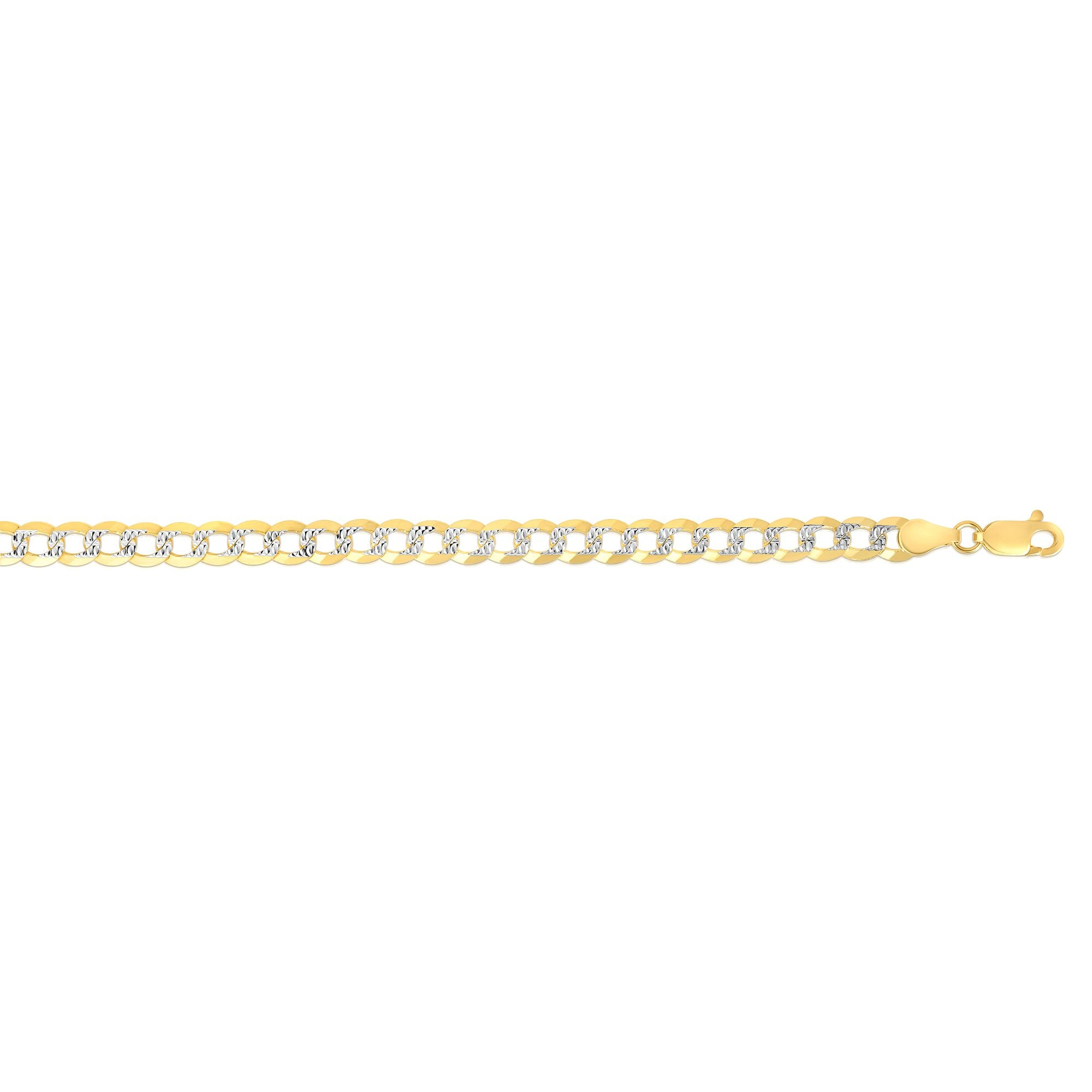 14K Gold 5.7mm White Pave Curb Chain