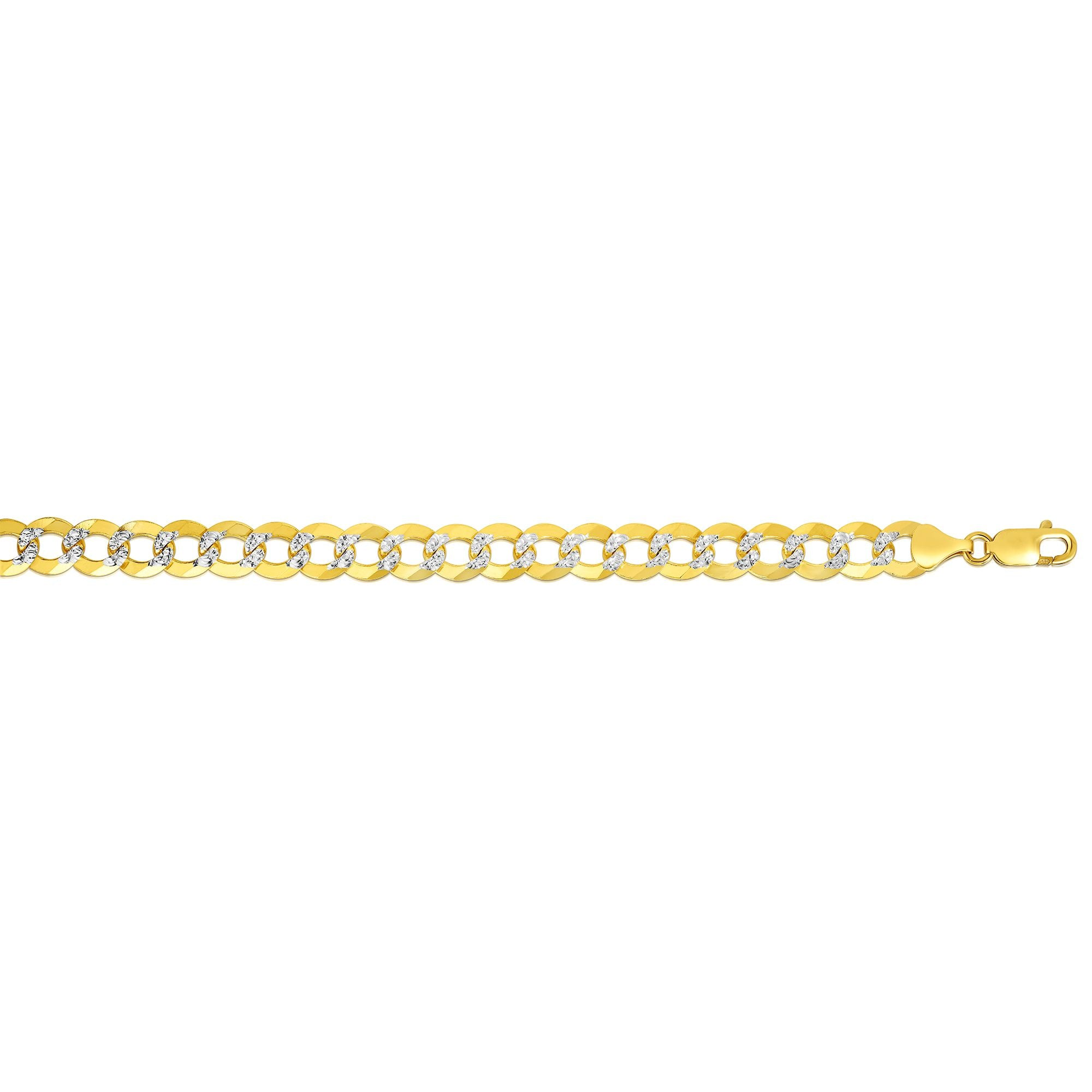 14K Gold 8.3mm White Pave Curb Chain