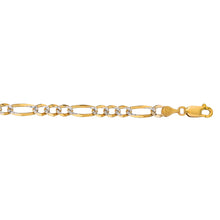 Load image into Gallery viewer, 14K Gold 7mm White Pave Figaro Chain