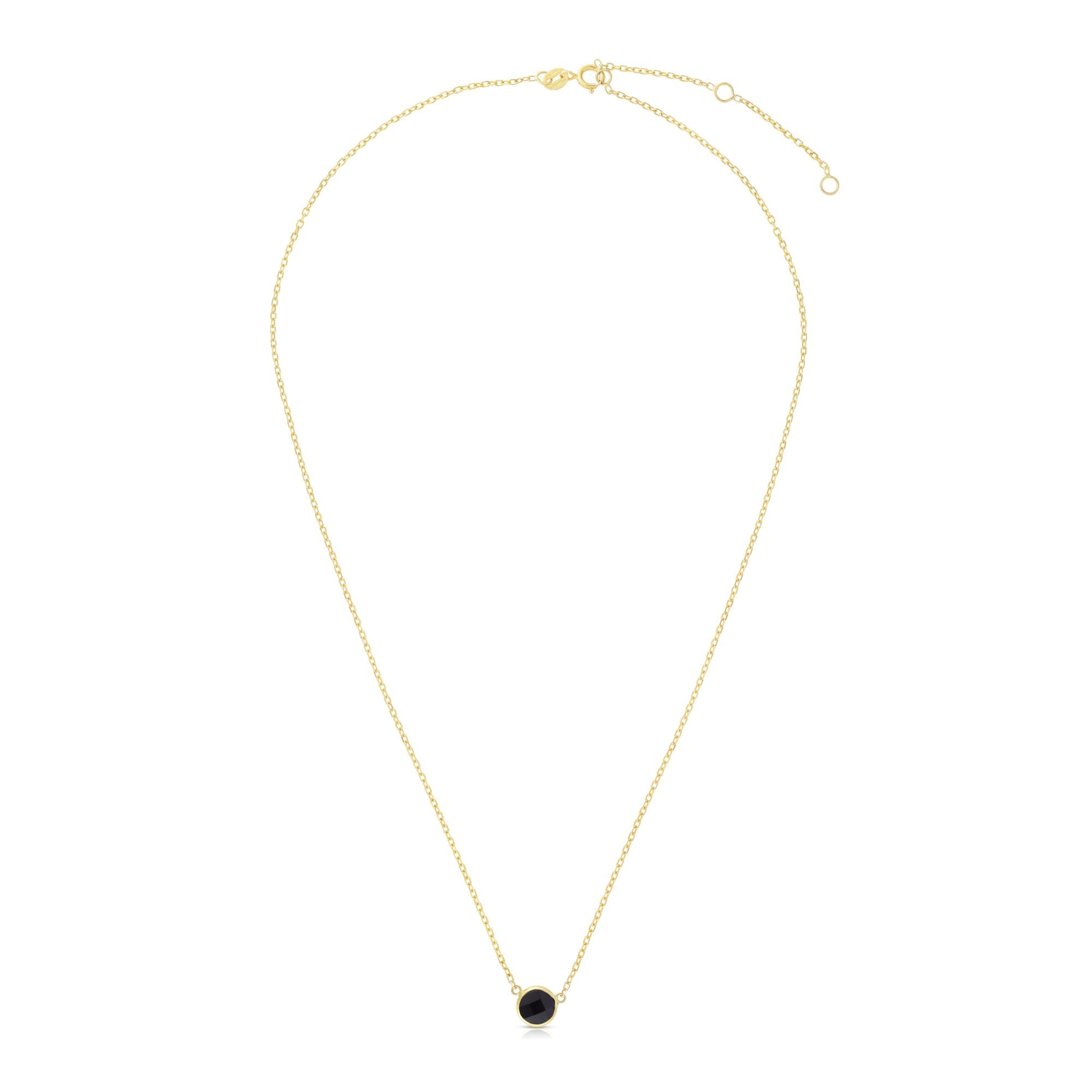 14K Gold & Onyx Solitaire Necklace