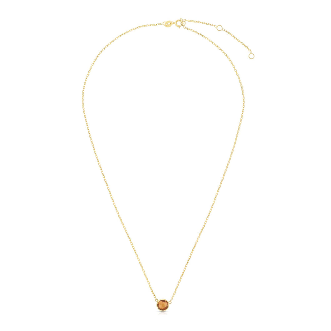 14K Gold & Citrine Solitaire Necklace
