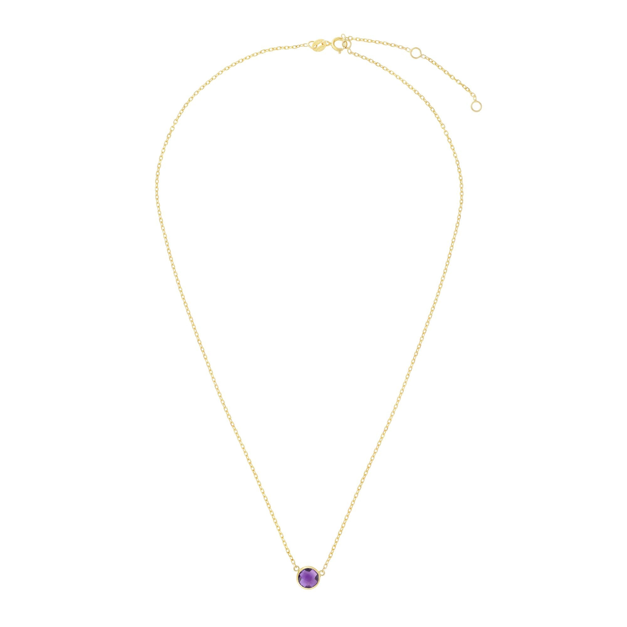 14K Gold & Amethyst Solitaire Necklace