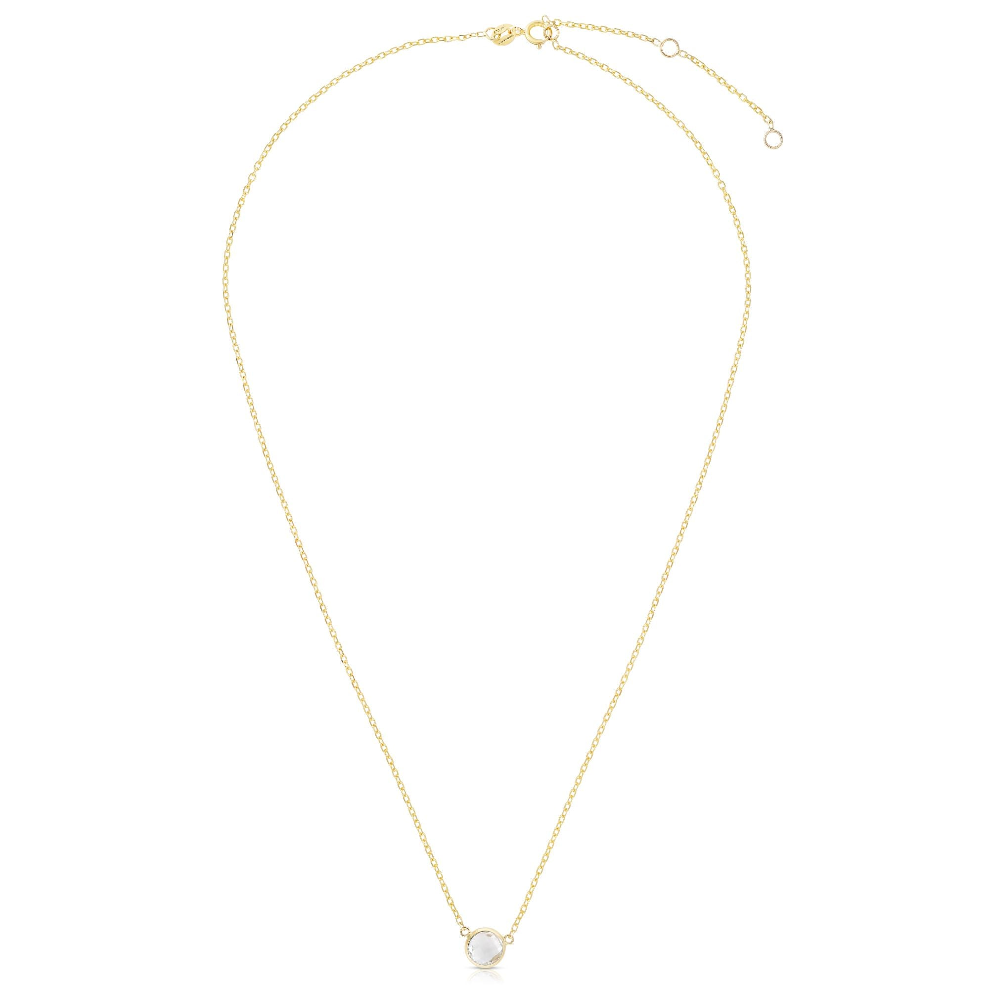 14K Gold & White Topaz Solitaire Necklace