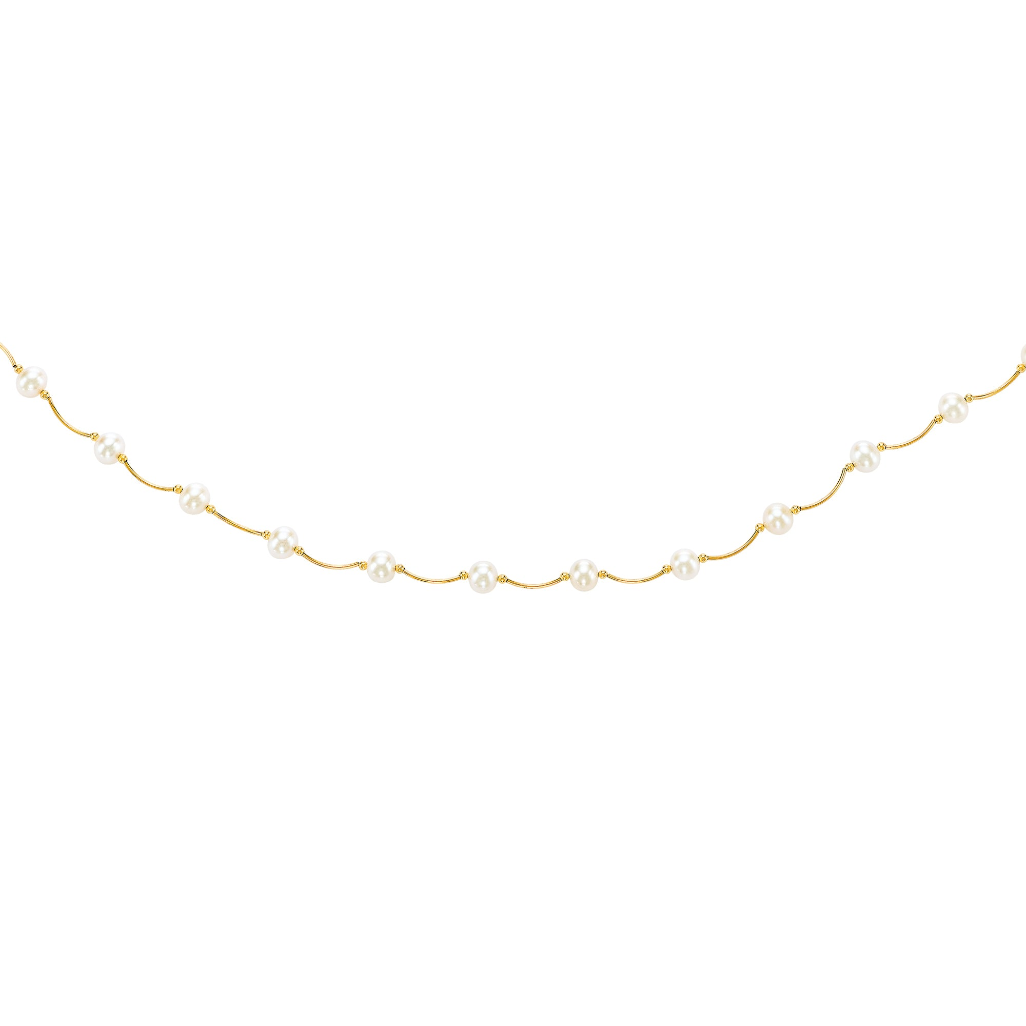 14K Gold Pearl Station Scalloped Necklace