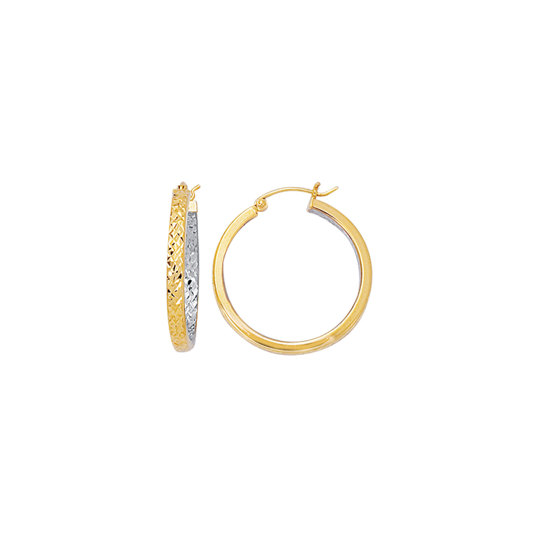 10K Gold Yellow Exterior, White Interior Diamond Cut Hoop Earring