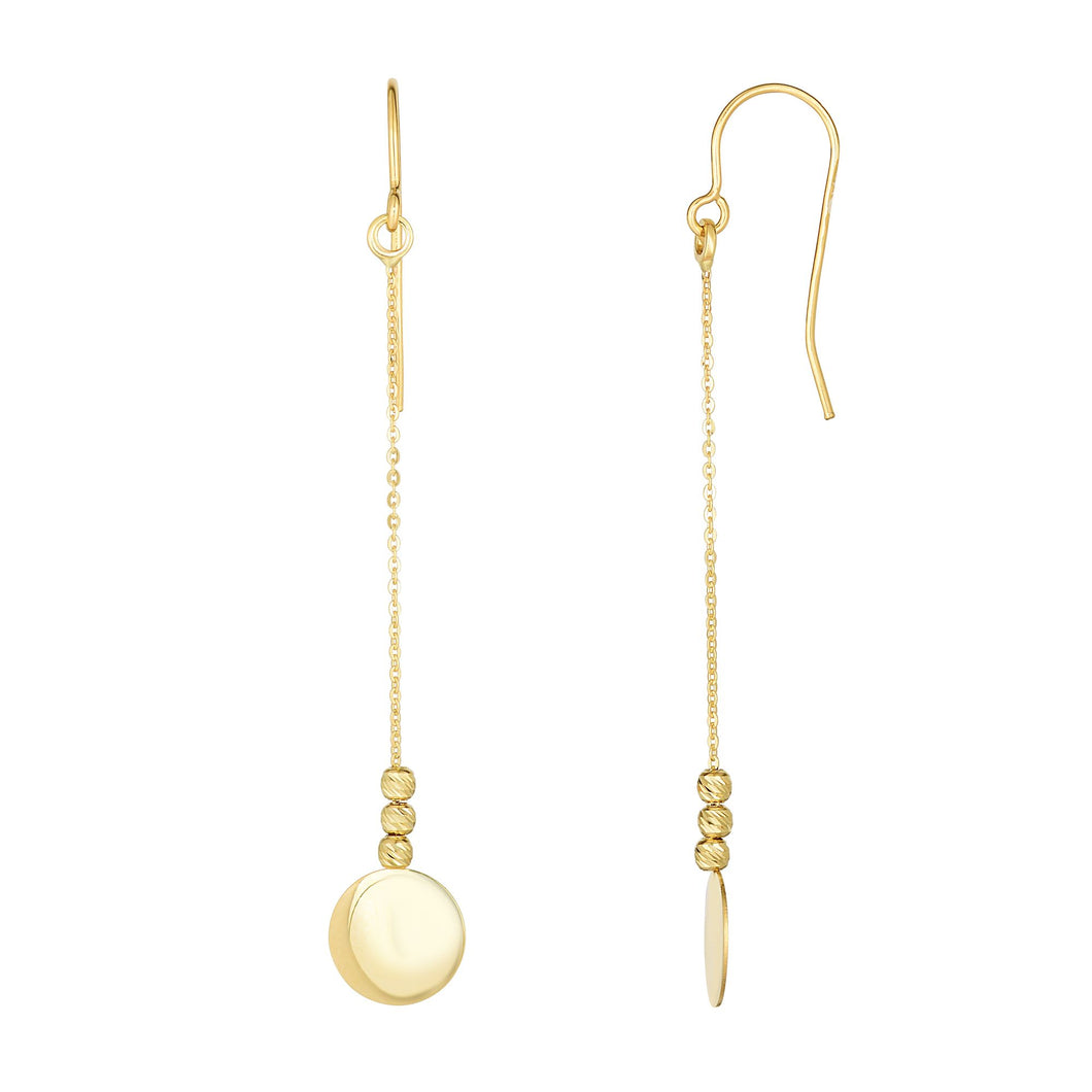 10K Gold Polished Circle Disc & Bead Drop Earring