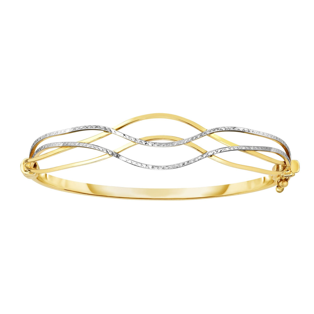 10K Two-tone Gold Wave Bangle
