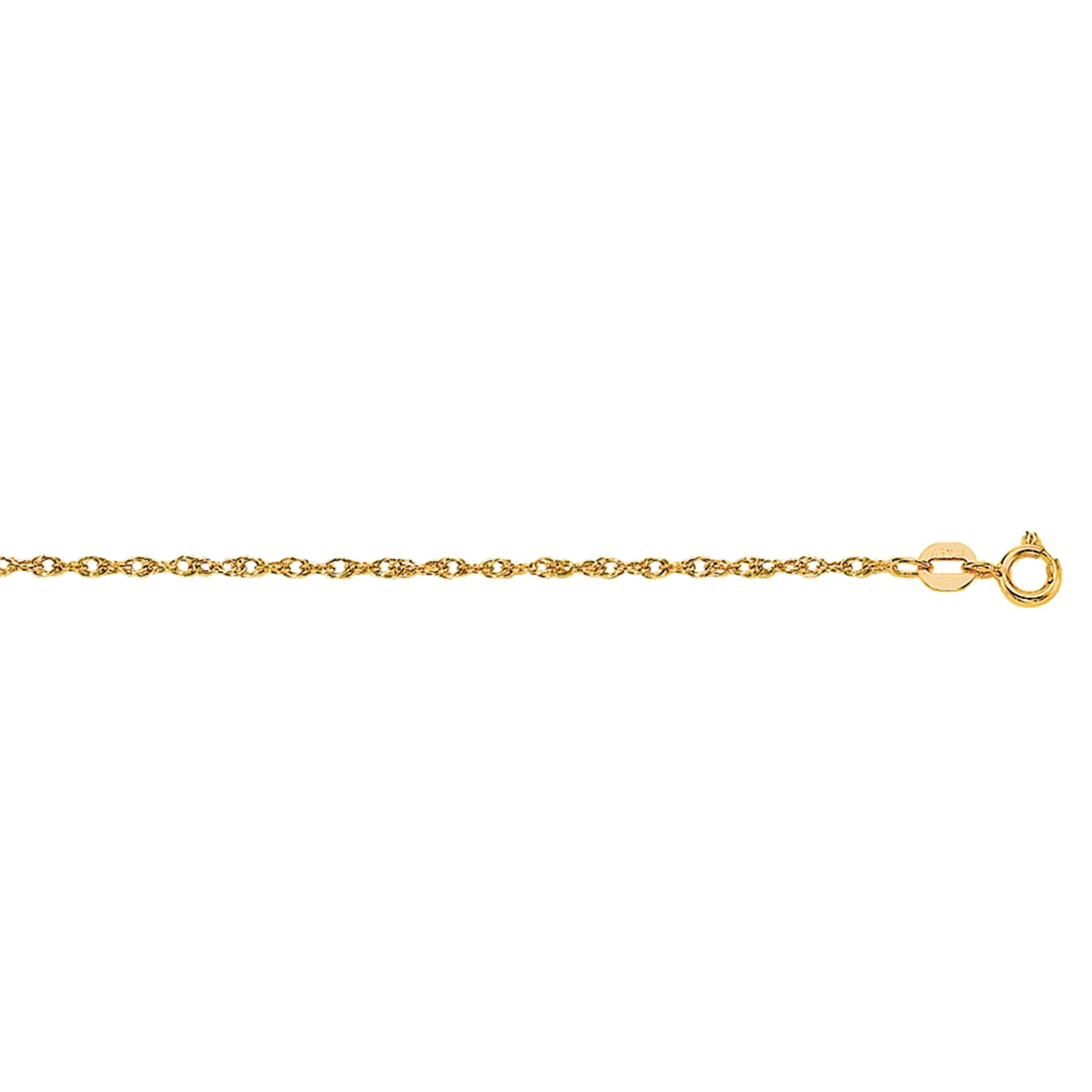 10K Gold .95mm Machine Rope Chain Carded