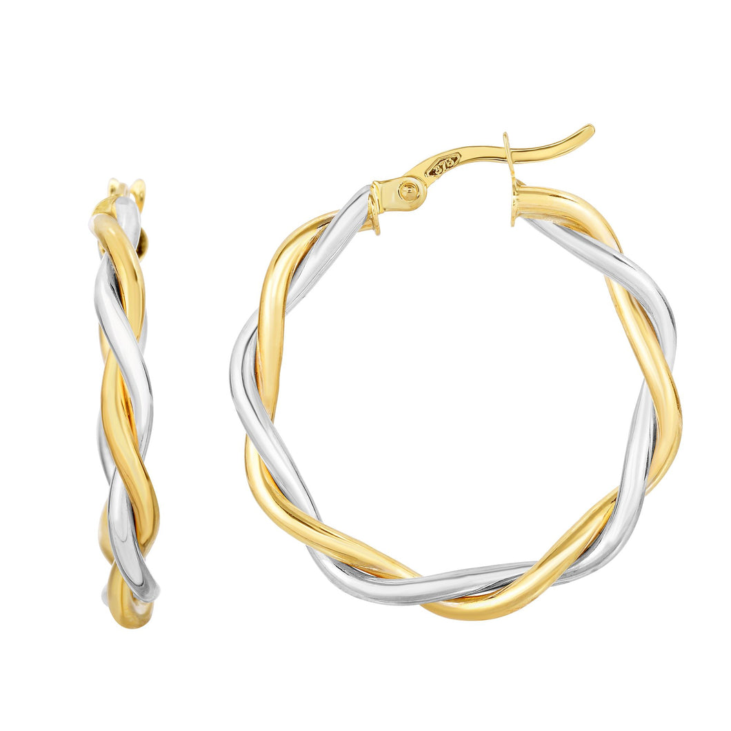 10K Gold Medium Poished Twist Hoop Earring